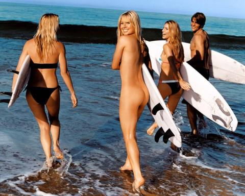 サーフィン全裸のお宝エロ画像
