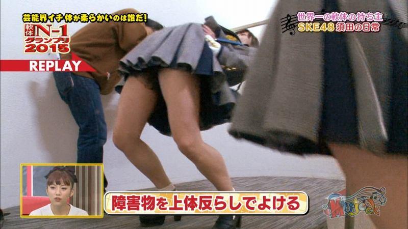 須田亜香里モロにパンチラエロGIF画像